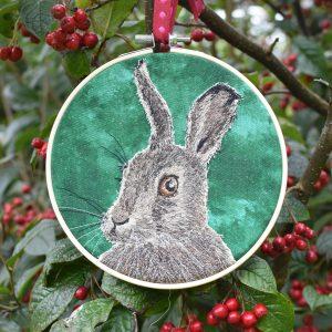 wildlife textile art Jen Keavey INto The Woods Galway, Ireland
